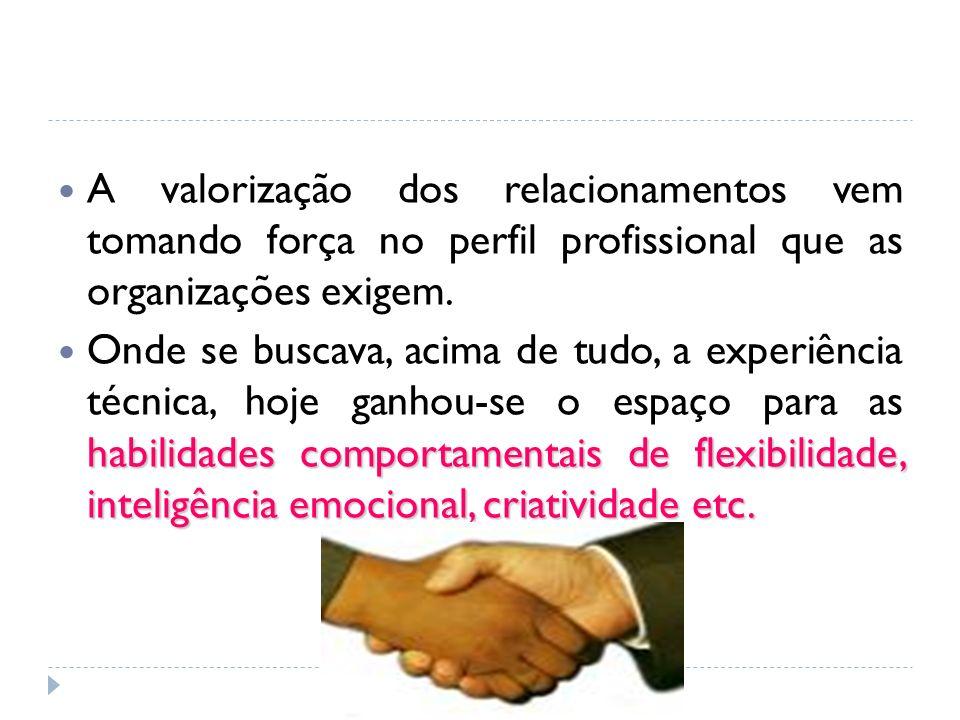 A valorização dos relacionamentos vem tomando força no perfil profissional que as organizações exigem. habilidades comportamentais de flexibilidade, i