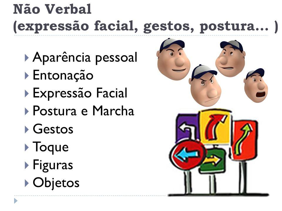Não Verbal (expressão facial, gestos, postura... ) Aparência pessoal Entonação Expressão Facial Postura e Marcha Gestos Toque Figuras Objetos