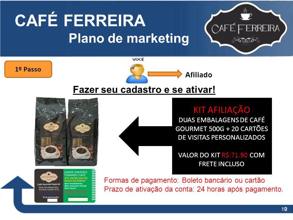 19 CAFÉ FERREIRA Plano de marketing Fazer seu cadastro e se ativar! 1º Passo KIT AFILIAÇÃO DUAS EMBALAGENS DE CAFÉ GOURMET 500G + 20 CARTÕES DE VISITA