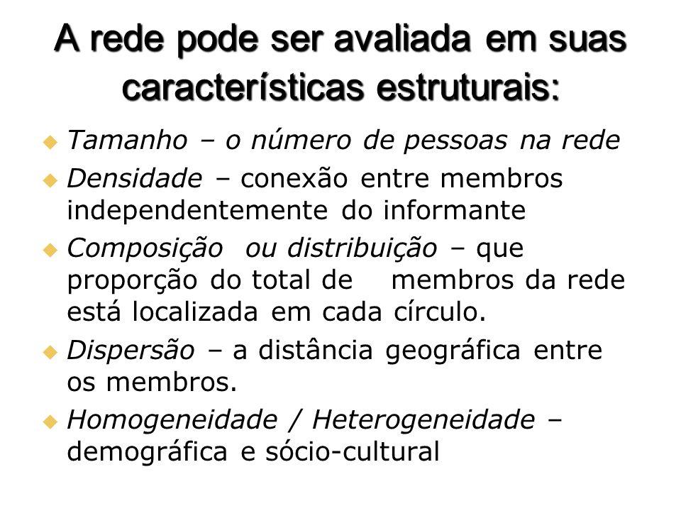 A rede pode ser avaliada em suas características estruturais: Tamanho – o número de pessoas na rede Tamanho – o número de pessoas na rede Densidade –