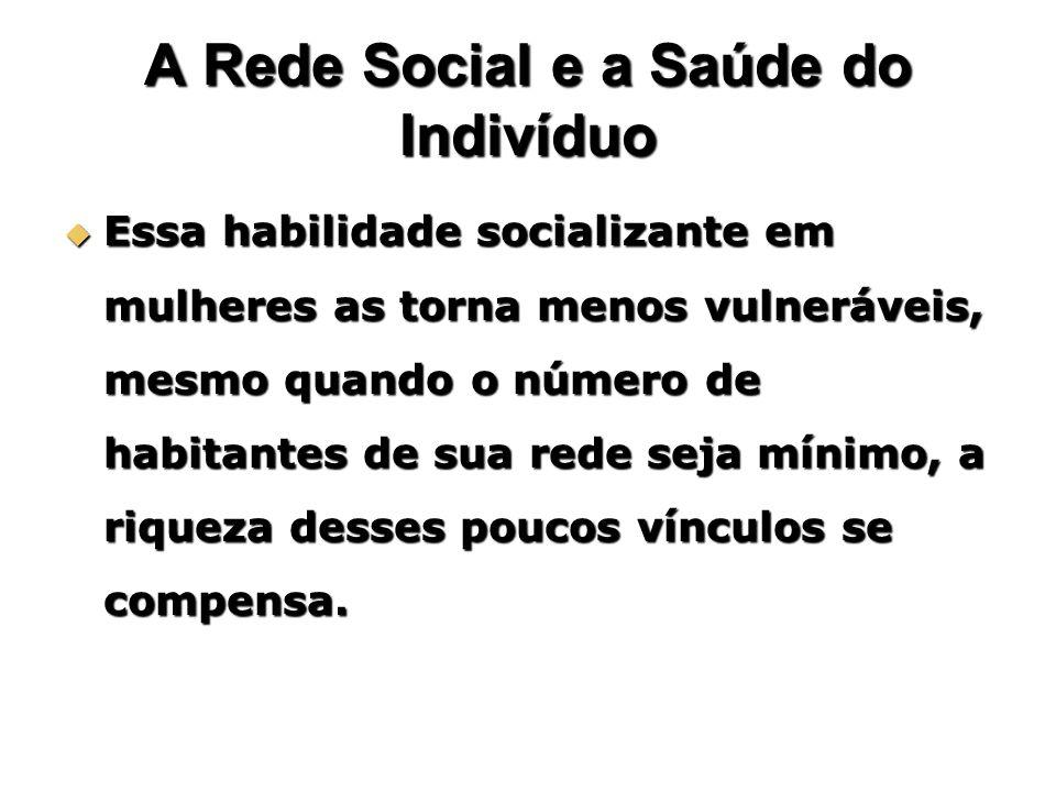 A Rede Social e a Saúde do Indivíduo Essa habilidade socializante em mulheres as torna menos vulneráveis, mesmo quando o número de habitantes de sua r