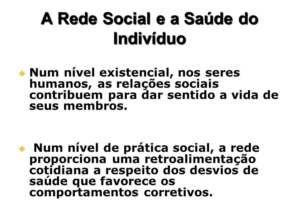 A Rede Social e a Saúde do Indivíduo Num nível existencial, nos seres humanos, as relações sociais contribuem para dar sentido a vida de seus membros.