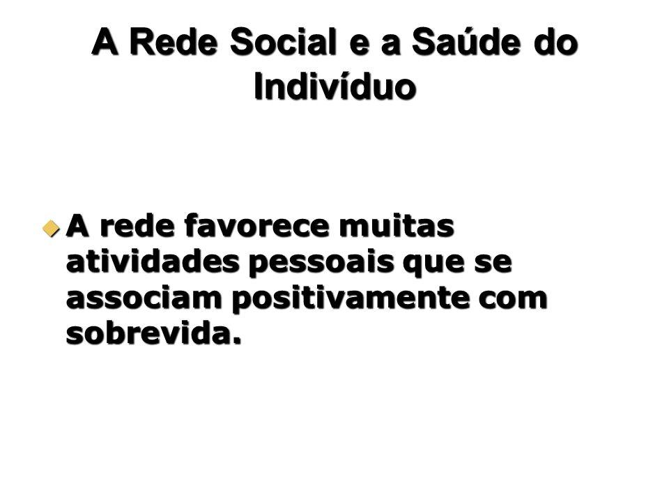 A Rede Social e a Saúde do Indivíduo A rede favorece muitas atividades pessoais que se associam positivamente com sobrevida. A rede favorece muitas at