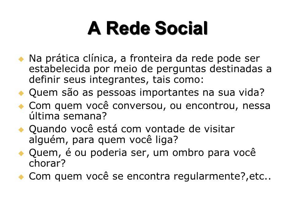 A Rede Social Na prática clínica, a fronteira da rede pode ser estabelecida por meio de perguntas destinadas a definir seus integrantes, tais como: Na