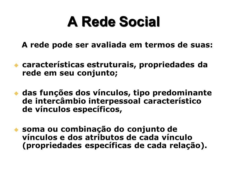 A Rede Social A rede pode ser avaliada em termos de suas: A rede pode ser avaliada em termos de suas: características estruturais, propriedades da red