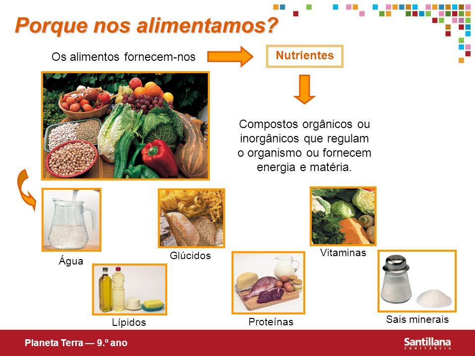 Porque nos alimentamos? Os alimentos fornecem-nos Nutrientes Compostos orgânicos ou inorgânicos que regulam o organismo ou fornecem energia e matéria.