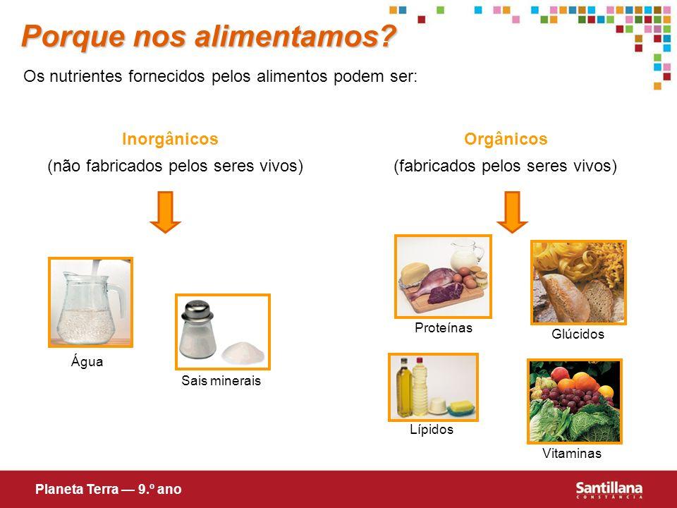 Sais minerais Vitaminas Os nutrientes fornecidos pelos alimentos podem ser: InorgânicosOrgânicos (fabricados pelos seres vivos)(não fabricados pelos s