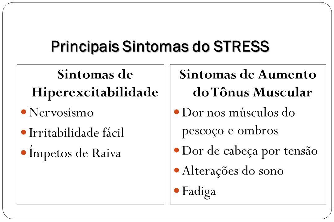 Principais Sintomas do STRESS Sintomas de Hiperexcitabilidade Nervosismo Irritabilidade fácil Ímpetos de Raiva Sintomas de Aumento do Tônus Muscular D