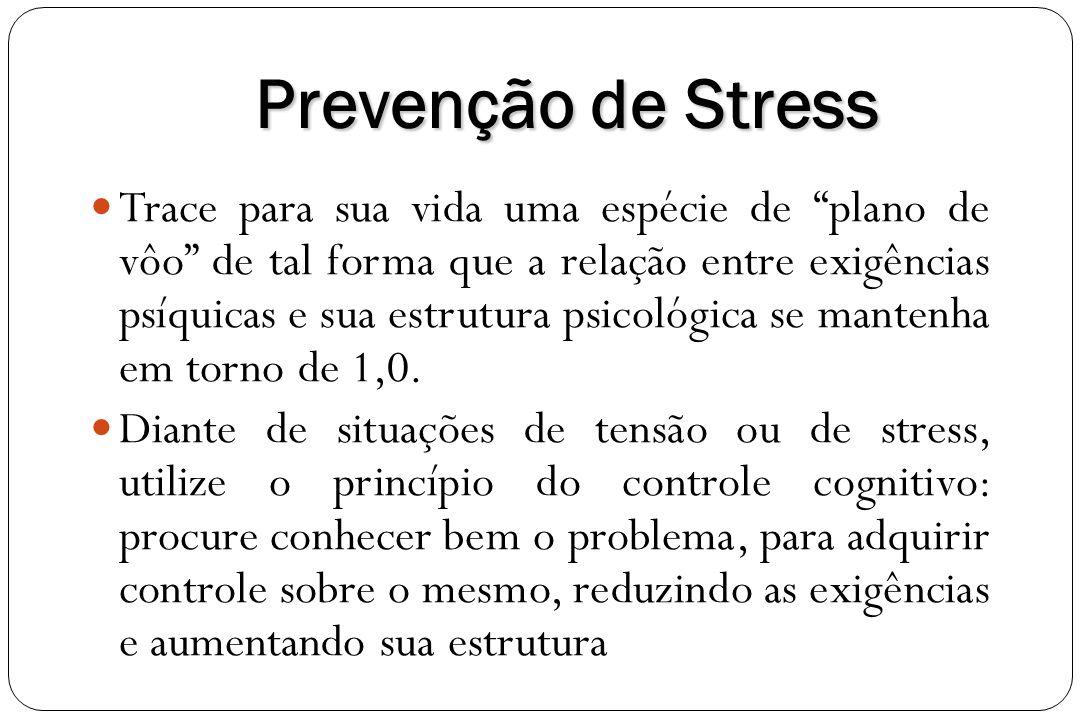 Prevenção de Stress Trace para sua vida uma espécie de plano de vôo de tal forma que a relação entre exigências psíquicas e sua estrutura psicológica