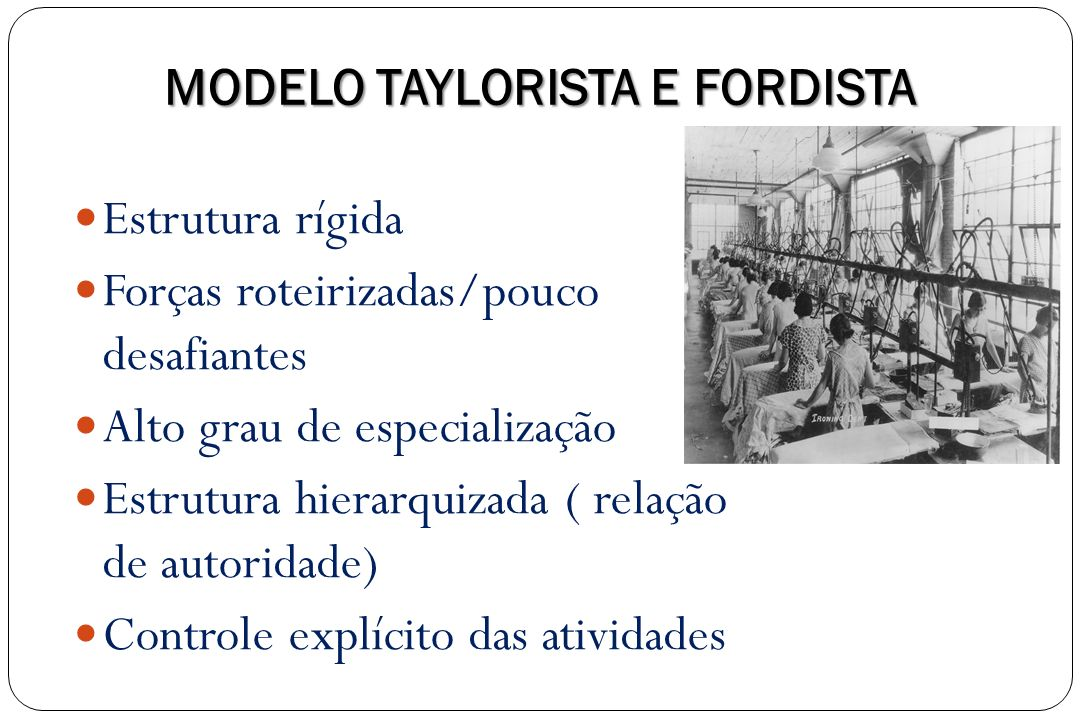 MODELO TAYLORISTA E FORDISTA Estrutura rígida Forças roteirizadas/pouco desafiantes Alto grau de especialização Estrutura hierarquizada ( relação de a
