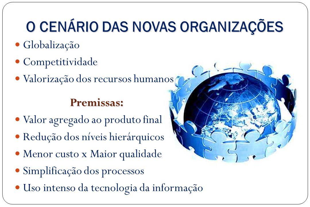 O CENÁRIO DAS NOVAS ORGANIZAÇÕES Globalização Competitividade Valorização dos recursos humanos Premissas: Valor agregado ao produto final Redução dos