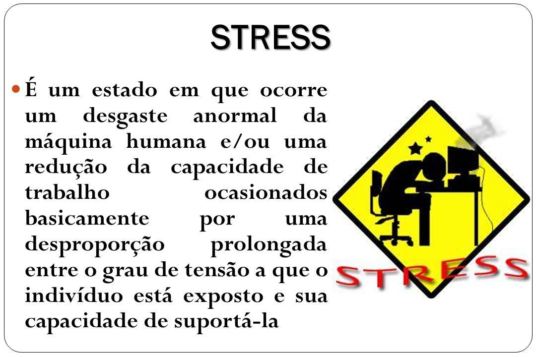 STRESS É um estado em que ocorre um desgaste anormal da máquina humana e/ou uma redução da capacidade de trabalho ocasionados basicamente por uma desp
