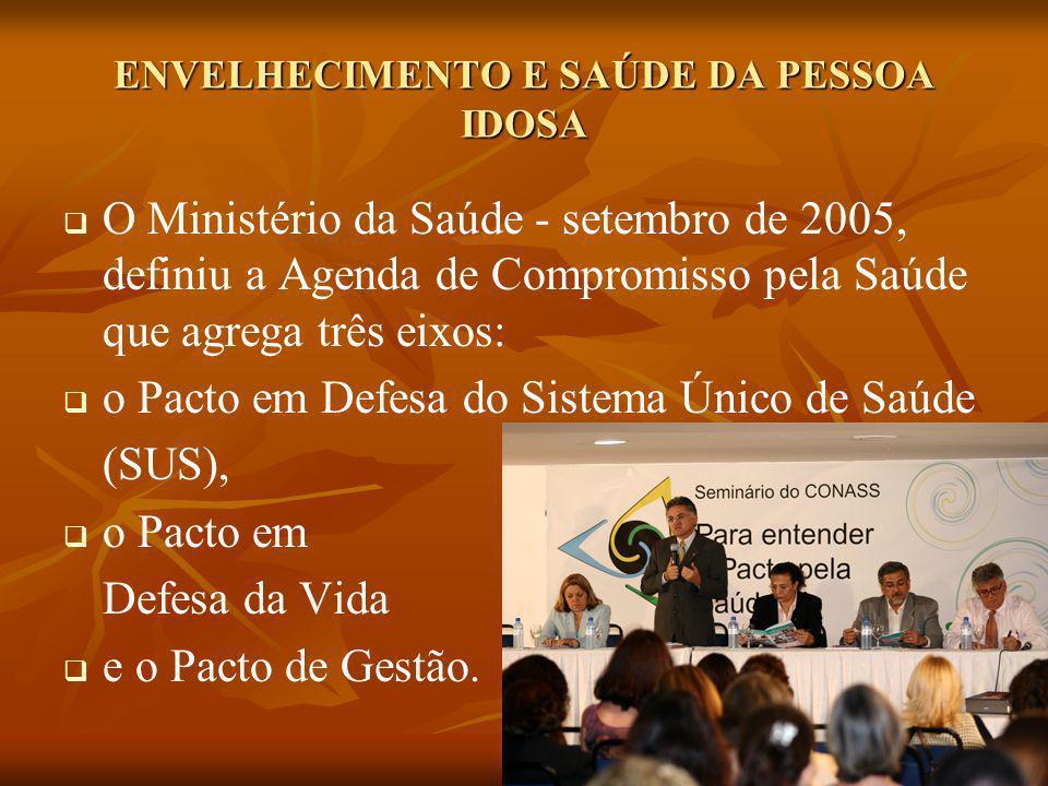ENVELHECIMENTO E SAÚDE DA PESSOA IDOSA O Ministério da Saúde - setembro de 2005, definiu a Agenda de Compromisso pela Saúde que agrega três eixos: o P