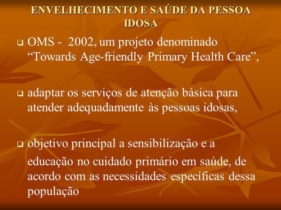 ENVELHECIMENTO E SAÚDE DA PESSOA IDOSA OMS - 2002, um projeto denominado Towards Age-friendly Primary Health Care, adaptar os serviços de atenção bási