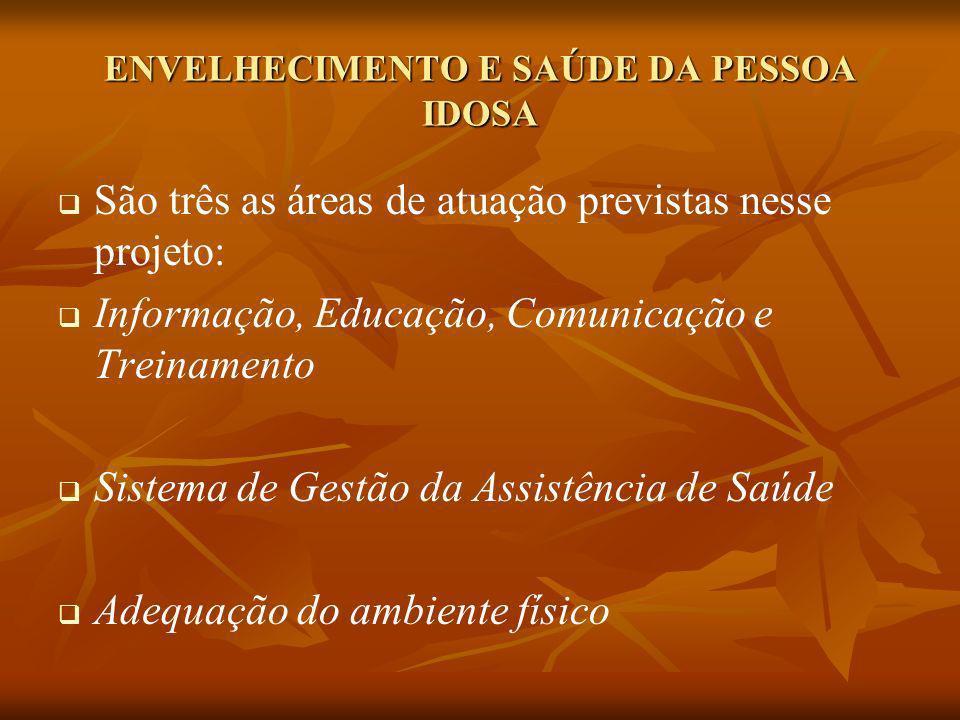 ENVELHECIMENTO E SAÚDE DA PESSOA IDOSA São três as áreas de atuação previstas nesse projeto: Informação, Educação, Comunicação e Treinamento Sistema d