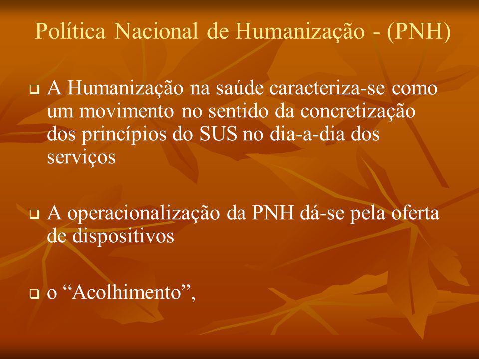 Política Nacional de Humanização - (PNH) A Humanização na saúde caracteriza-se como um movimento no sentido da concretização dos princípios do SUS no