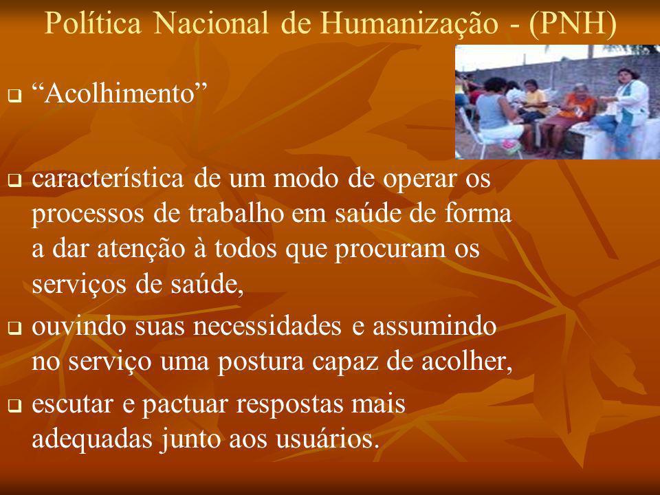 Política Nacional de Humanização - (PNH) Acolhimento característica de um modo de operar os processos de trabalho em saúde de forma a dar atenção à to