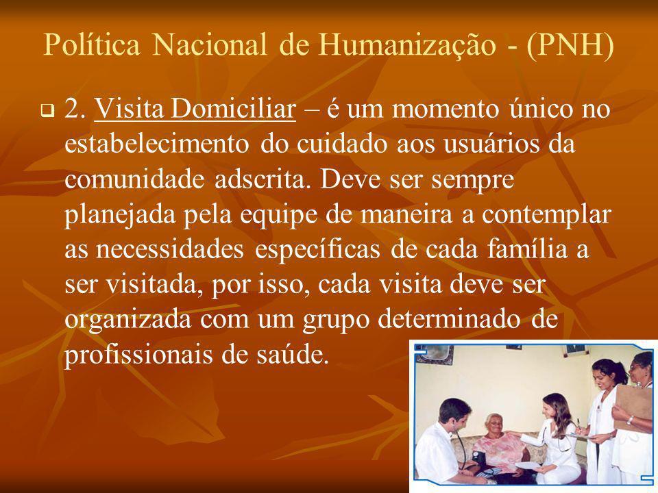 Política Nacional de Humanização - (PNH) 2. Visita Domiciliar – é um momento único no estabelecimento do cuidado aos usuários da comunidade adscrita.