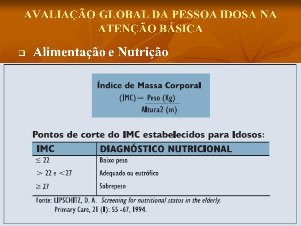 AVALIAÇÃO GLOBAL DA PESSOA IDOSA NA ATENÇÃO BÁSICA Alimentação e Nutrição
