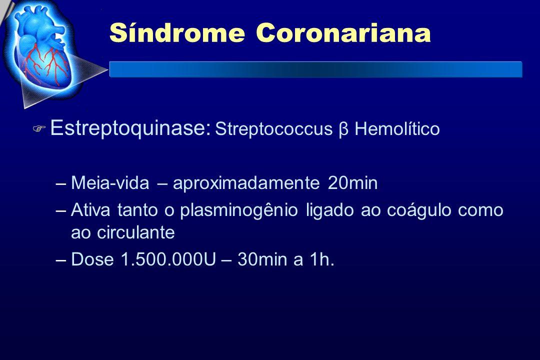 Síndrome Coronariana F Estreptoquinase: Streptococcus β Hemolítico –Meia-vida – aproximadamente 20min –Ativa tanto o plasminogênio ligado ao coágulo c