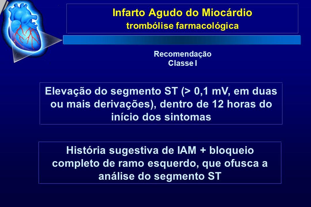 Infarto Agudo do Miocárdio trombólise farmacológica Recomendação Classe I Elevação do segmento ST (> 0,1 mV, em duas ou mais derivações), dentro de 12