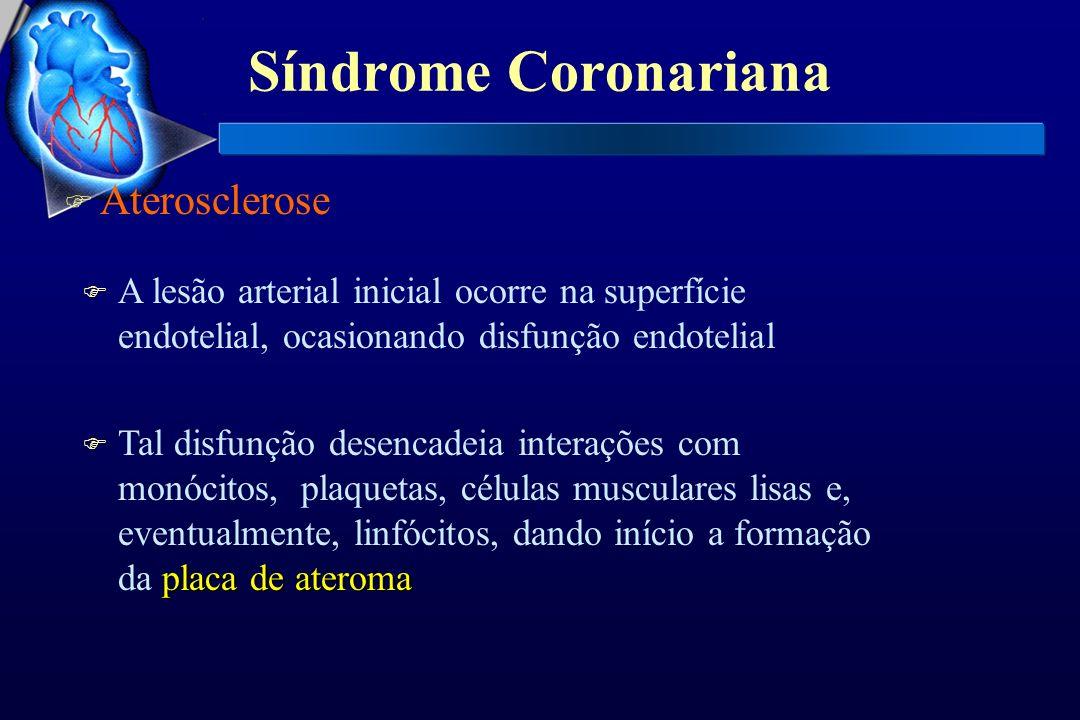 Síndrome Coronariana F Aterosclerose F A lesão arterial inicial ocorre na superfície endotelial, ocasionando disfunção endotelial placa de ateroma F T