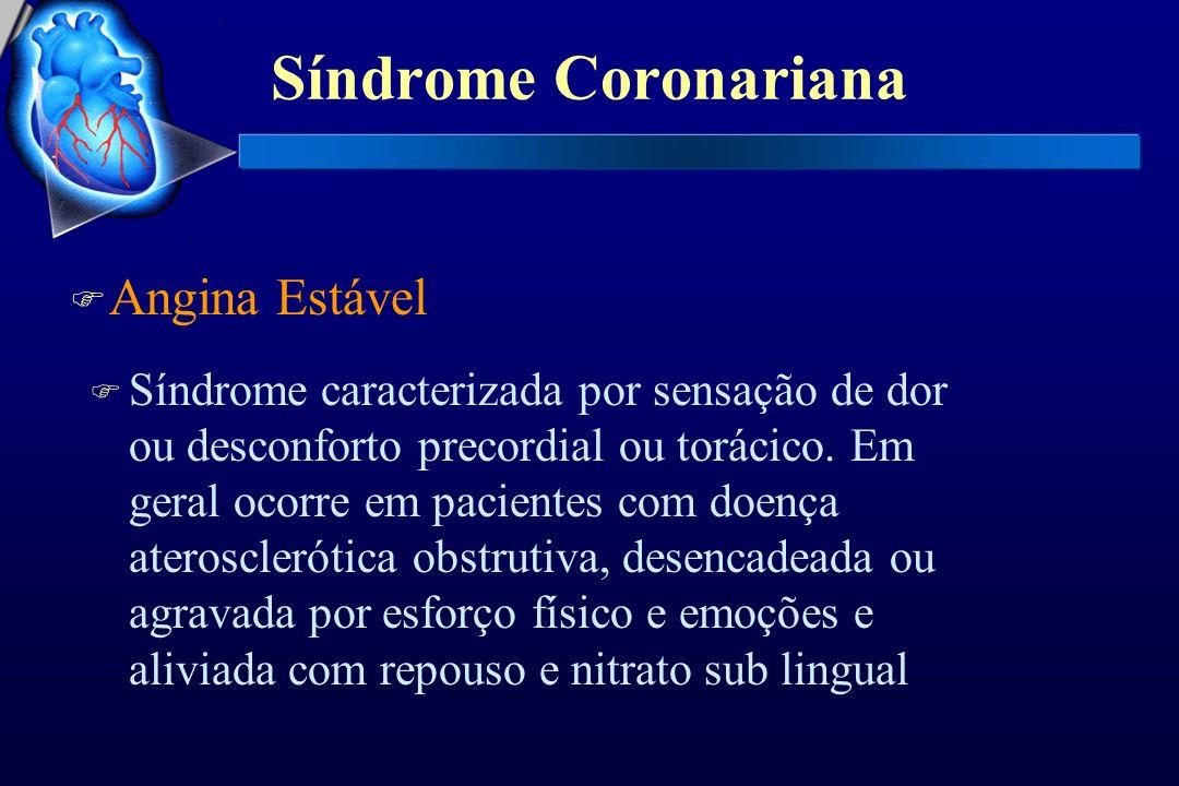 Síndrome Coronariana F Angina Instável Ocupa espaço importante entre angina estável e infarto agudo do miocárdio FISSURA DA PLACA, TROMBO OU ALTERAÇÕES DA VOSOMOTRICIDADE Pode ocorrer por diminuição da luz do vaso decorrente: FISSURA DA PLACA, TROMBO OU ALTERAÇÕES DA VOSOMOTRICIDADE