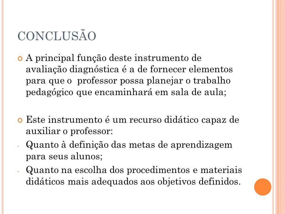 CONCLUSÃO A principal função deste instrumento de avaliação diagnóstica é a de fornecer elementos para que o professor possa planejar o trabalho pedag