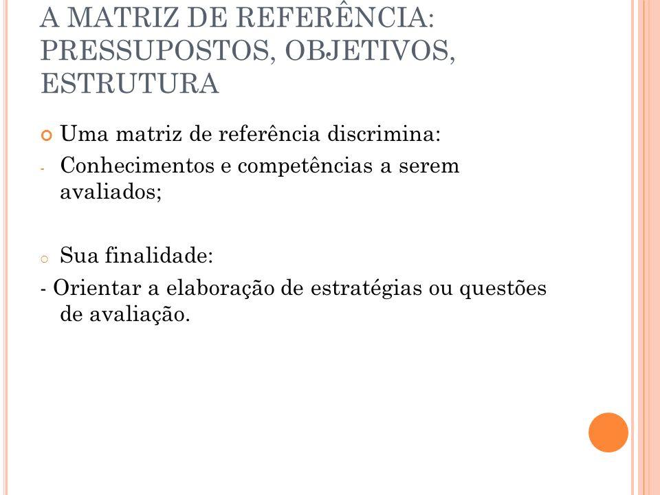 A MATRIZ DE REFERÊNCIA: PRESSUPOSTOS, OBJETIVOS, ESTRUTURA Uma matriz de referência discrimina: - Conhecimentos e competências a serem avaliados; o Su