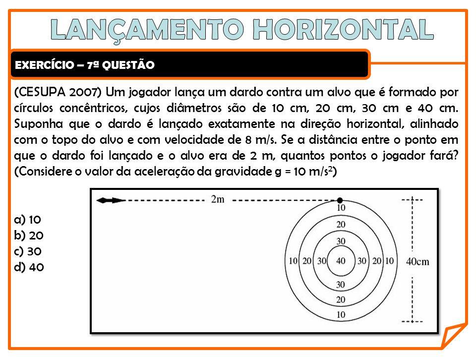 EXERCÍCIO – 7ª QUESTÃO (CESUPA 2007) Um jogador lança um dardo contra um alvo que é formado por círculos concêntricos, cujos diâmetros são de 10 cm, 2
