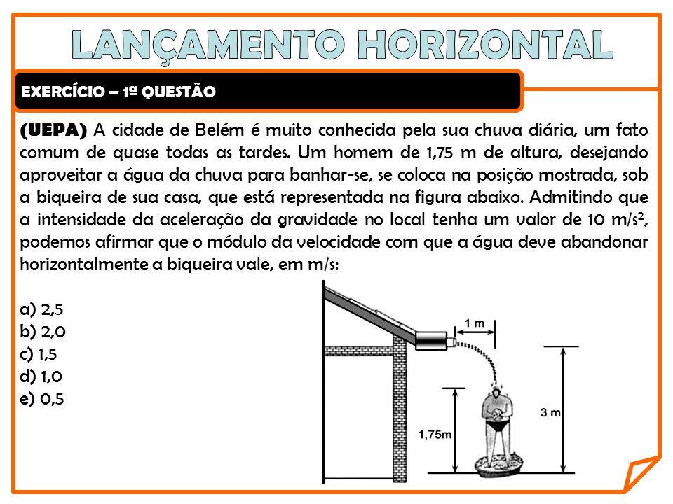 EXERCÍCIO – 2ª QUESTÃO Dois corpos A e B, situados a 10 m do solo, são simultaneamente testados em um experimento.