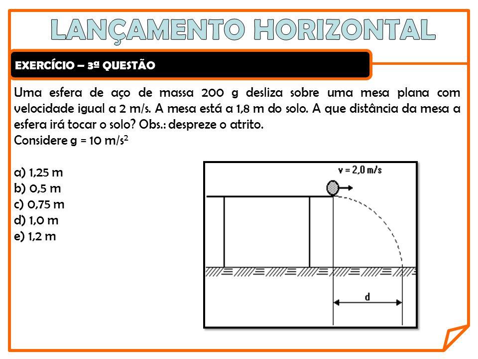 EXERCÍCIO – 3ª QUESTÃO Uma esfera de aço de massa 200 g desliza sobre uma mesa plana com velocidade igual a 2 m/s. A mesa está a 1,8 m do solo. A que