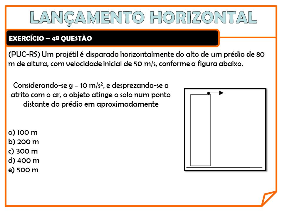 EXERCÍCIO – 4ª QUESTÃO (PUC-RS) Um projétil é disparado horizontalmente do alto de um prédio de 80 m de altura, com velocidade inicial de 50 m/s, conf