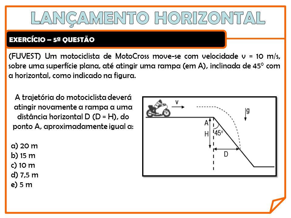 EXERCÍCIO – 5ª QUESTÃO (FUVEST) Um motociclista de MotoCross move-se com velocidade v = 10 m/s, sobre uma superfície plana, até atingir uma rampa (em