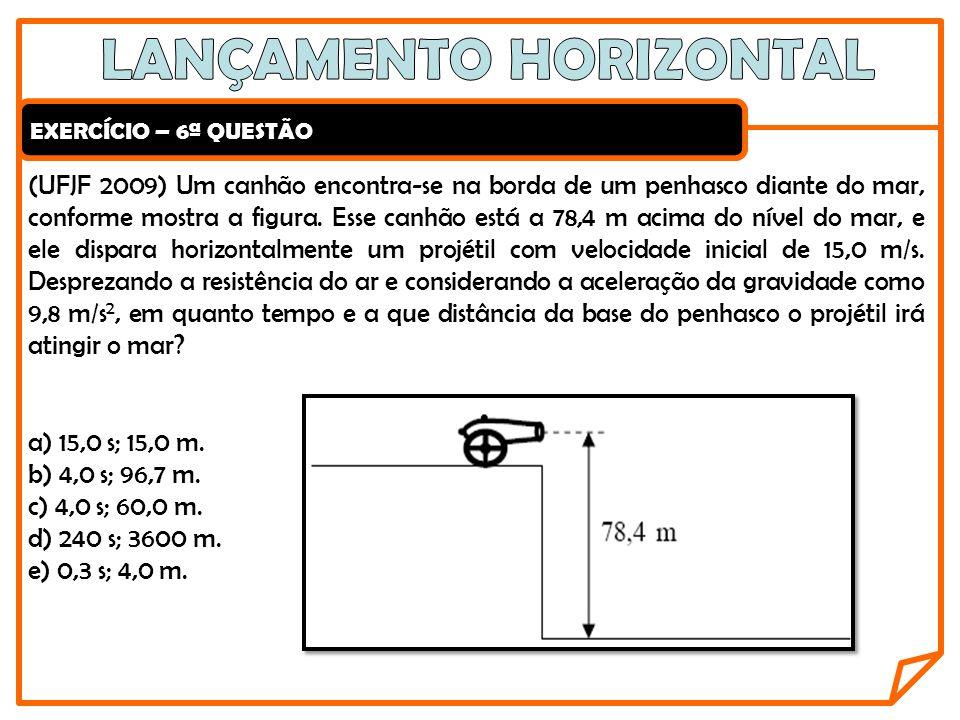 EXERCÍCIO – 6ª QUESTÃO (UFJF 2009) Um canhão encontra-se na borda de um penhasco diante do mar, conforme mostra a figura. Esse canhão está a 78,4 m ac