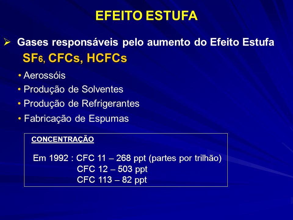 EFEITO ESTUFA Gases responsáveis pelo aumento do Efeito Estufa SF 6, CFCs, HCFCs Aerossóis Produção de Solventes Produção de Refrigerantes Fabricação de Espumas CONCENTRAÇÃO Em 1992 : CFC 11 – 268 ppt (partes por trilhão) CFC 12 – 503 ppt CFC 113 – 82 ppt