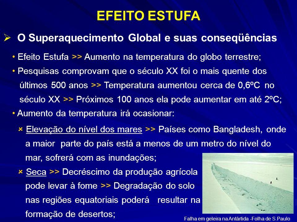 Efeito Estufa >> Aumento na temperatura do globo terrestre; Pesquisas comprovam que o século XX foi o mais quente dos últimos 500 anos >> Temperatura
