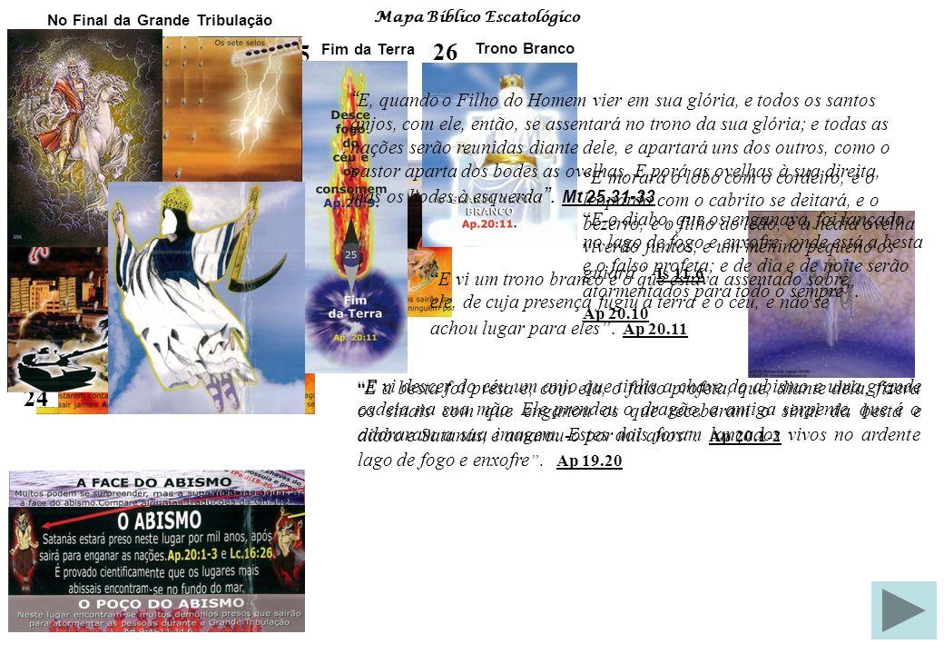 Mapa Bíblico Escatológico Estudo Sistemático da Bíblia Fonte de Pesquisa: 26 – O Grande Trono Branco No final do milênio Satanás sairá do abismo para enganar nações e será lançado no Lago de Fogo, onde está a besta e o falso profeta.