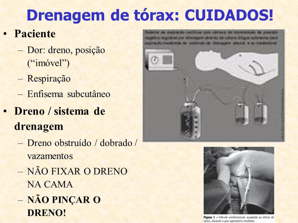 Drenagem de tórax: CUIDADOS! Paciente –Dor: dreno, posição (imóvel) –Respiração –Enfisema subcutâneo Dreno / sistema de drenagem –Dreno obstruído / do