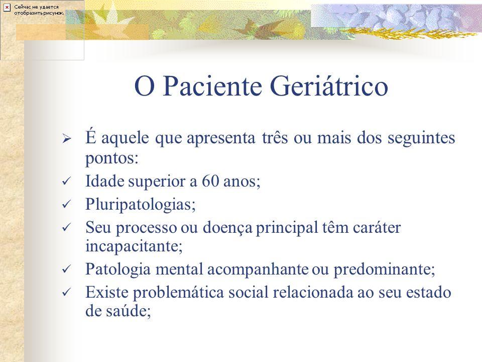 O Paciente Geriátrico É aquele que apresenta três ou mais dos seguintes pontos: Idade superior a 60 anos; Pluripatologias; Seu processo ou doença prin