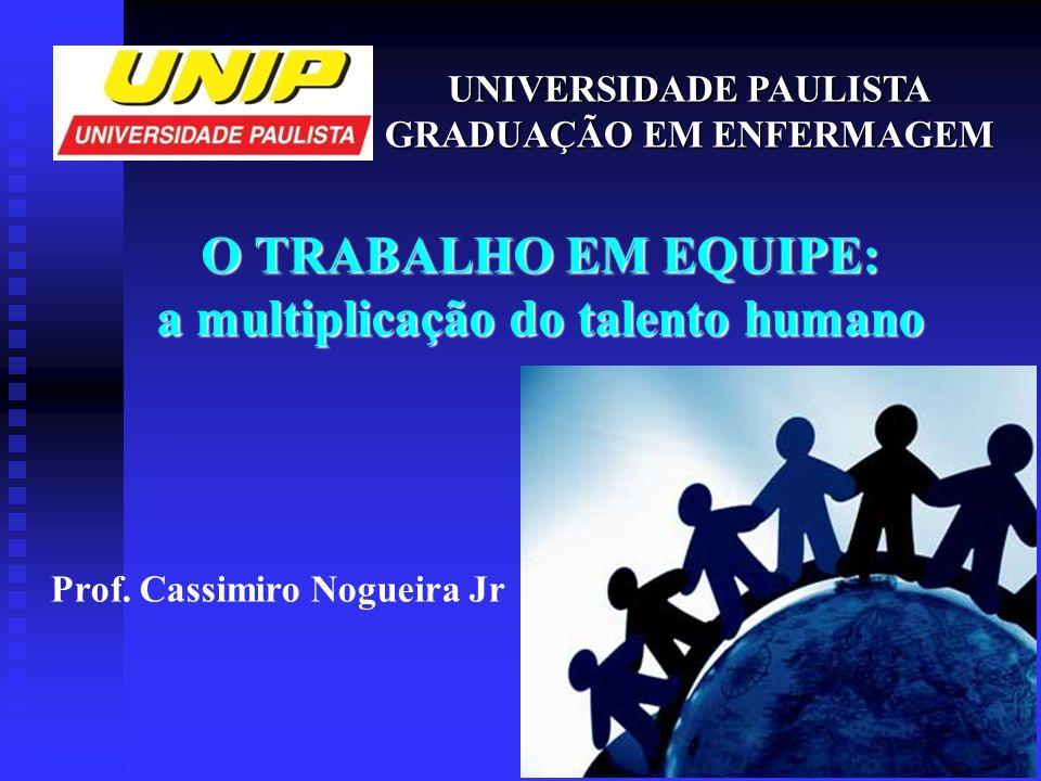 O TRABALHO EM EQUIPE: a multiplicação do talento humano UNIVERSIDADE PAULISTA GRADUAÇÃO EM ENFERMAGEM Prof. Cassimiro Nogueira Jr