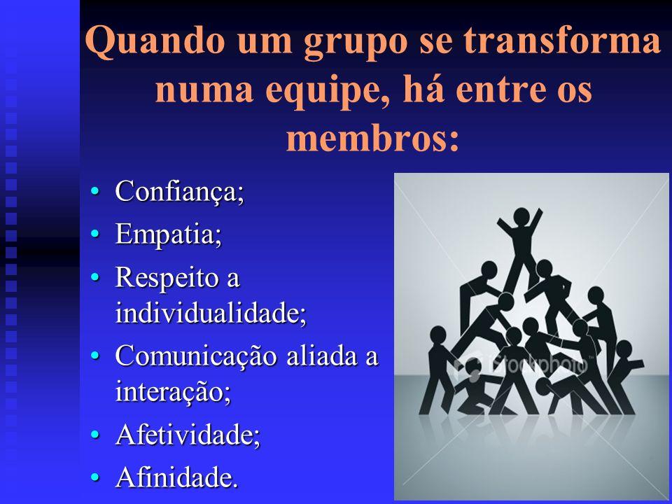 Quando um grupo se transforma numa equipe, há entre os membros: Confiança;Confiança; Empatia;Empatia; Respeito a individualidade;Respeito a individualidade; Comunicação aliada a interação;Comunicação aliada a interação; Afetividade;Afetividade; Afinidade.Afinidade.