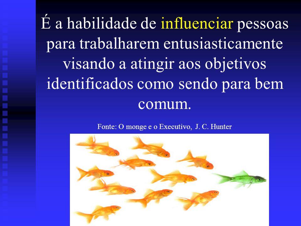 É a habilidade de influenciar pessoas para trabalharem entusiasticamente visando a atingir aos objetivos identificados como sendo para bem comum.