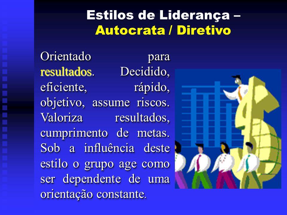 Estilos de Liderança – Autocrata / Diretivo Orientado para resultados.