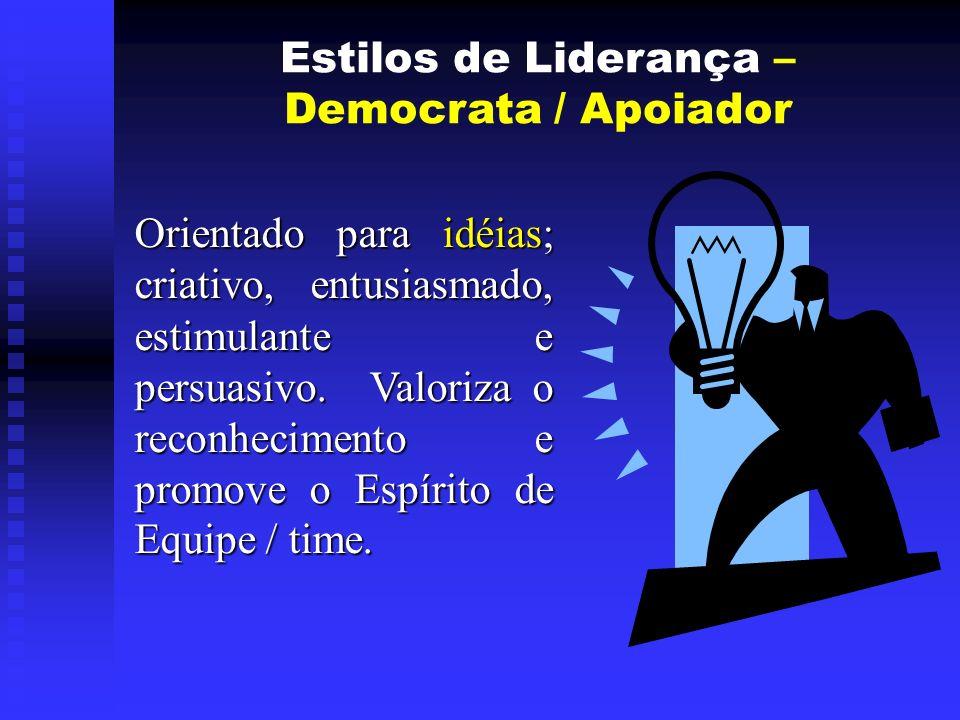 Estilos de Liderança – Democrata / Apoiador Orientado para idéias; criativo, entusiasmado, estimulante e persuasivo.
