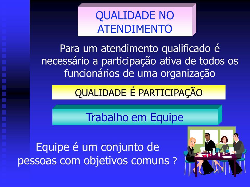 Para um atendimento qualificado é necessário a participação ativa de todos os funcionários de uma organização QUALIDADE NO ATENDIMENTO Trabalho em Equipe Equipe é um conjunto de pessoas com objetivos comuns .