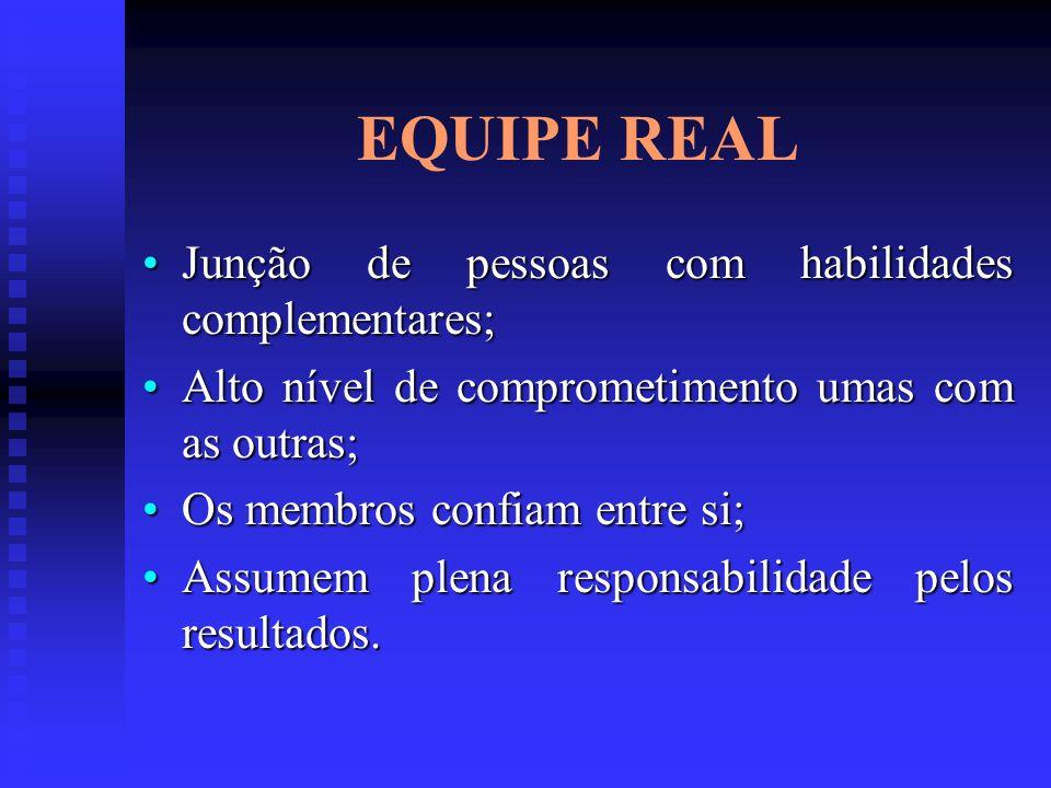 EQUIPE REAL Junção de pessoas com habilidades complementares;Junção de pessoas com habilidades complementares; Alto nível de comprometimento umas com