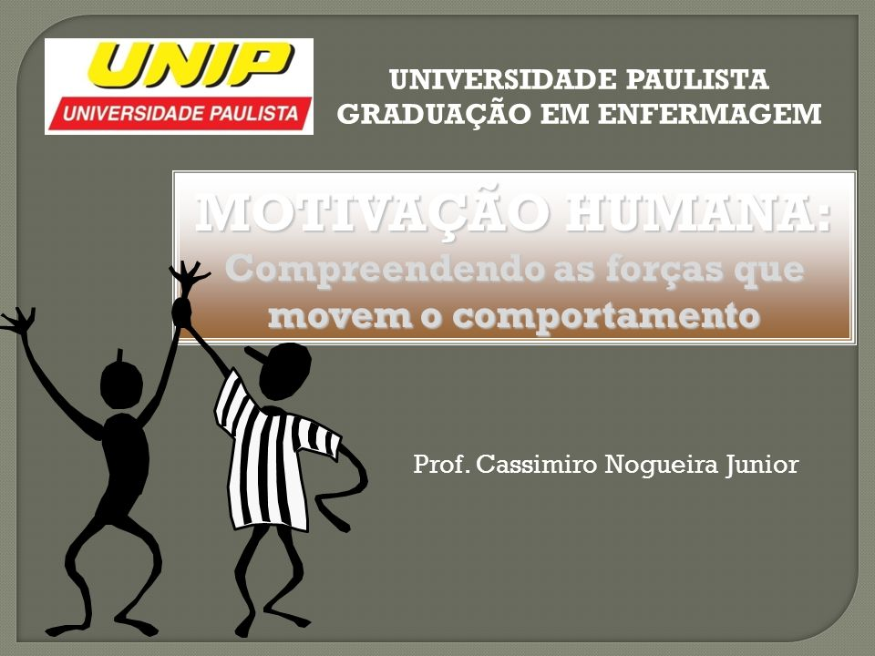 MOTIVAÇÃO HUMANA: Compreendendo as forças que movem o comportamento UNIVERSIDADE PAULISTA GRADUAÇÃO EM ENFERMAGEM Prof. Cassimiro Nogueira Junior