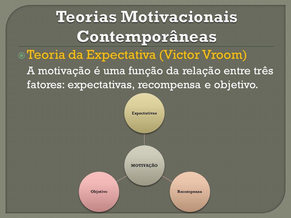 Teoria da Expectativa (Victor Vroom) A motivação é uma função da relação entre três fatores: expectativas, recompensa e objetivo. MOTIVAÇÃOExpectativa