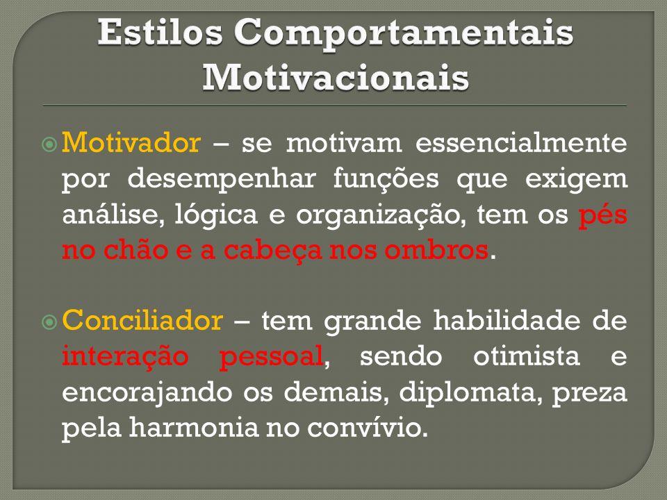 Motivador – se motivam essencialmente por desempenhar funções que exigem análise, lógica e organização, tem os pés no chão e a cabeça nos ombros. Conc